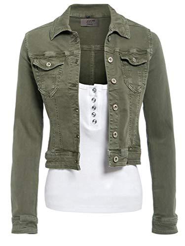 SS7 Damen ausgestattet Jeansjacke Damen Stretch Khaki Jean-Jacken-Größe 36-44