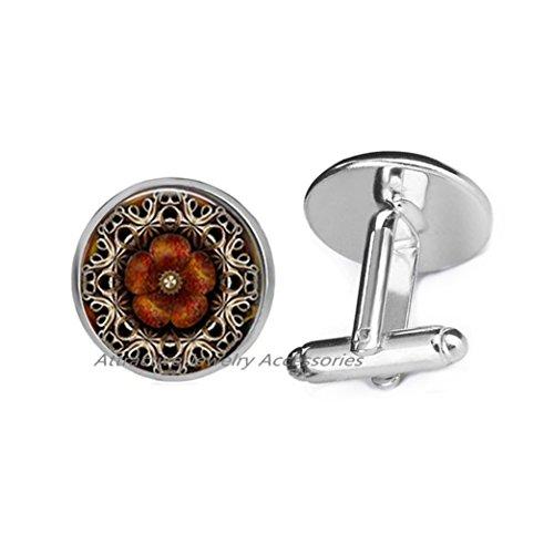 Wkloavmg Mandala Cufflinks - Mandala Jewelry - Spiritual Cufflinks - Spiritual Jewelry spiritual Cufflinks, religious jewelry, Mandala Cuff Links,QK153 (Q1)