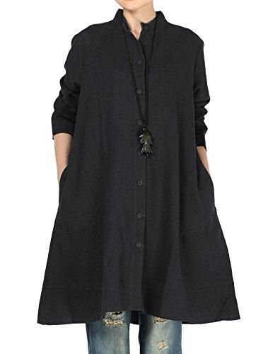Vogstyle Damen Herbst Baumwolle Leinen Voller vorderer Knopf Blouse Kleid mit Taschen Style 1 X-Large Black