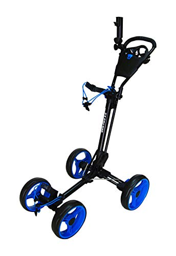 Qwik-Fold 4 Wheel Folding Push Pull Golf CART - Foot Brake - ONE Second to Open & Close! (Black/Blue)