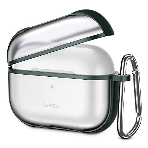 ESR Hybrid AirPods Carrying Case for AirPods Pro (2019 Release), Translucent Protective PC Cover with Flexible TPU Frame and Keychain, Matte Surface, Supports Wireless Charging, Dark Green