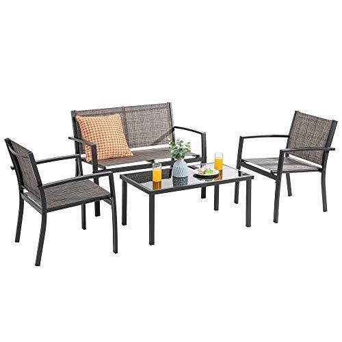 Vongrasig 4 Pieces Patio Furniture Sets, Small Modern Metal Textilene Outdoor Furniture Conversation Sets, Lawn Garden Porch Balcony Mesh Bistro Set Backyard Patio Set w/Loveseat&Glass Table (Taupe)
