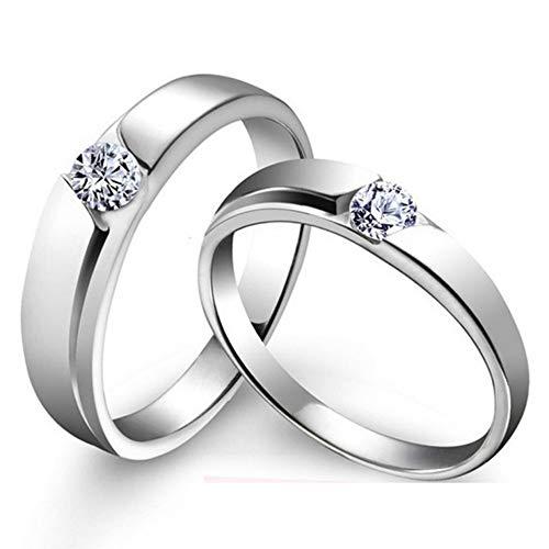 DLIAAN Ringen Opening Paar Bruiloft Ring Paar Ringen Vrouw Mode Zirkoon Six-Claw Kroon Liefde Live Mond Verstelbare Sieraden Geschenk, 2 Stks
