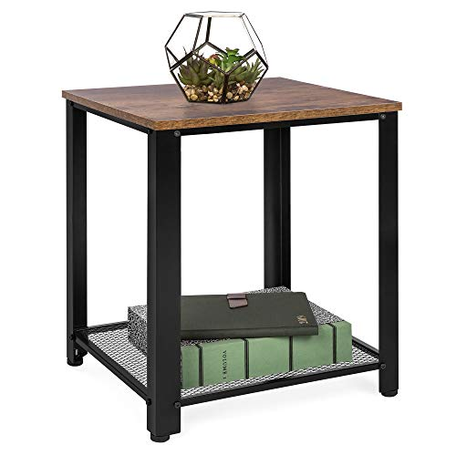 Best Choice Products Rustic 2-Tier Side End Table, Living Room & Bedroom Furniture w/Wood Finish Top, Metal Frame