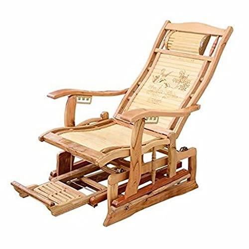 Silla de bambú Plegable Silla reclinable diseño de Pedal retráctil habitación Interior relajación reclinable Muebles de jardín Asiento Silla Silla de Sol