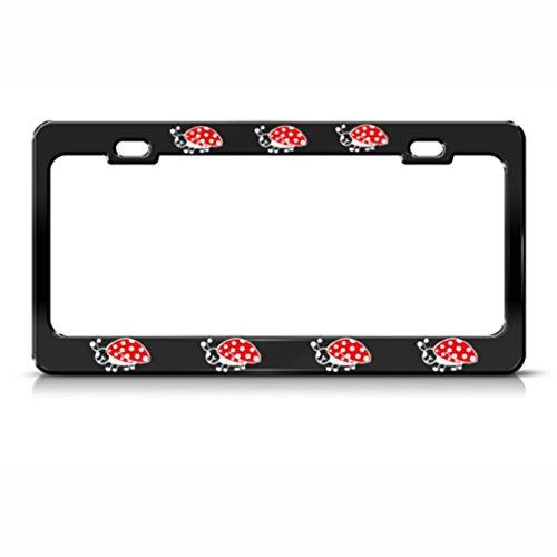 Speedy Pros Metal License Plate Frame Ladybug Animal Car Accessories Black 2 Holes