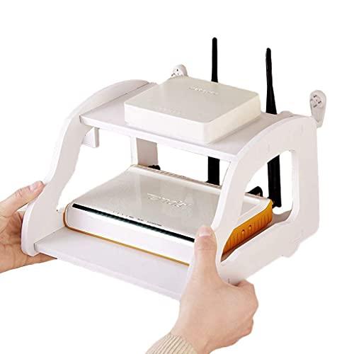 AWCPP Estante de Enrutador Montaje en la Pared Wifi Enrutador Estante Tv Conjunto de Tv Conjunto de Top de Doble Capa Acabado de Acabado Sala de Estar Caja de Alenamiento Soporte Blanco