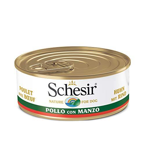 Schesir, Comida húmeda para Perros Adultos, Sabor Pollo con Buey