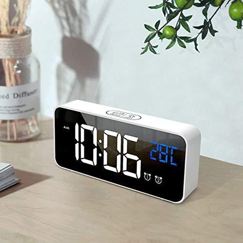 trounistro Digitaler Wecker, LED Digital Wecker Reisewecker Tischuhr Alarmwecker mit 2 Alarmen/Snooze/4 Helligkeit/Temperatur Anzeige/13 Alarmtöne, für Schlafzimmer, Büro & Reise (Weiß)