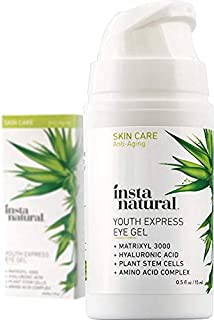 Eye Gel Cream - Wrinkle, Dark Circle, Fine Line & Redness Reducer - Pure & Organic Anti Aging Blend for Men & Women with Hyaluronic Acid - Fight Bags & Lift Skin - InstaNatural - 0.5 oz Travel Size