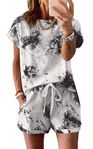 Spec4Y Schlafanzug Damen Oberteile Shorts Langarm Pyjama Sommer Kurz Hose Nachtwäsche Locker Set Hausanzug Tops Weiß Tie Dye Medium
