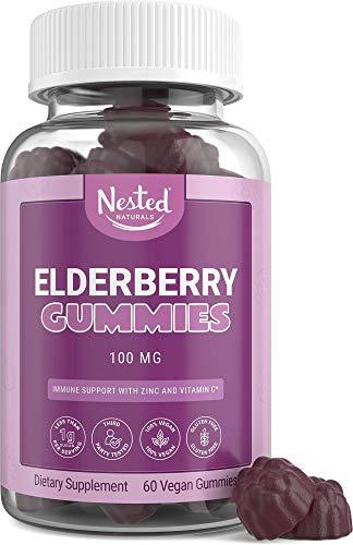 Nested Naturals Elderberry Gummies - Less Than 1g of Sugar & 100% Vegan - Immune System & Antioxidant Support Supplement for Adults & Kids - Sambucus Elderberry Extract with Zinc & Vitamin C