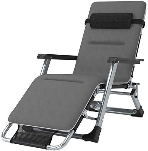 Silla reclinable reclinable de ADHW, silla de exterior, con gravedad cero, reclinable de aluminio ajustable, con almohada, con almohada
