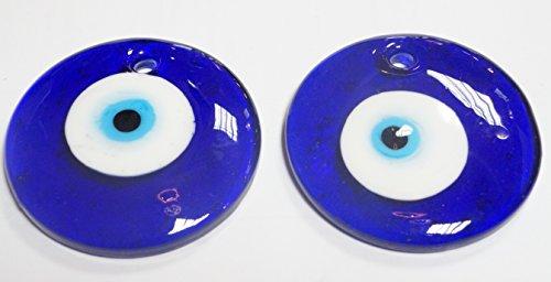 turco 2 Ojos Colgar- de Cristal contra el Mal de Ojo, Azul y Blanco y para la Buena Suerte, 5 cm de diametro con Agujero