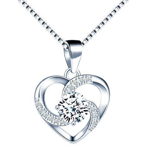 Infinito U-Collar de Mujer Plata de Ley 925'Crazy Love' Colgante Diamante Incrustado con 45cm Cadena