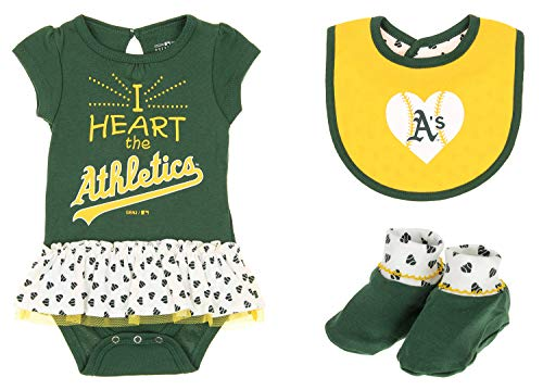 Outerstuff MLB Newborn Play with Heart Creeper Bib & Bootie Set, Oakland Athletics 3-6 Months