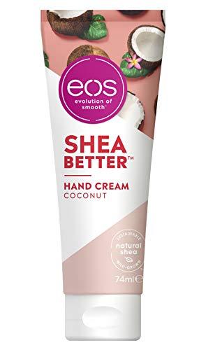 eos Shea Better Hand Cream Coconut, vegane Handcreme mit Kokos & Hibiskus, feuchtigkeitsspendende Handpflege, mit nachhaltigem Shea, für weiche Hände, 74 ml