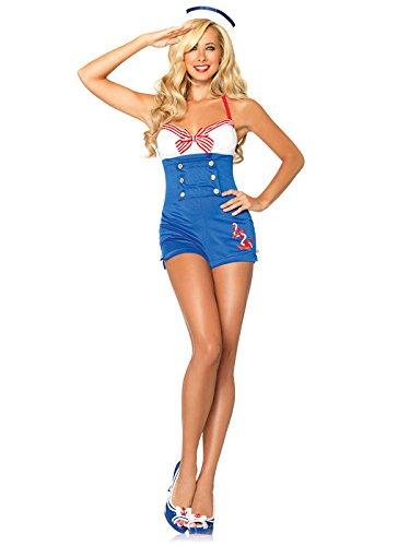 Sexy Matrosin Damenkostüm Sailor Girl blau weiss XS