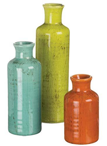 Sullivans Modern Farmhouse Decorative Multi-Color Small Ceramic Vase Set of Three (3), 5