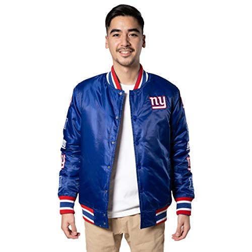Ultra Game NFL New York Giants Mens Varsity Jacket with Team Logo Patch, Team Color, X-Large