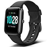 "Lintelek Smart Watch with 1.3"" LCD Full Touch Screen, Large Screen Fitness Tracker with Heart Rate Monitor, Pedometer, Sleep Tracker, Waterproof Activity Tracker for Men, Women and Gift (Black)"