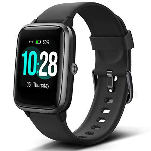 """Lintelek Smart Watch with 1.3"""" LCD Full Touch Screen, Large Screen Fitness Tracker with Heart Rate Monitor, Pedometer, Sleep Tracker, Waterproof Activity Tracker for Men, Women and Gift (Black)"""