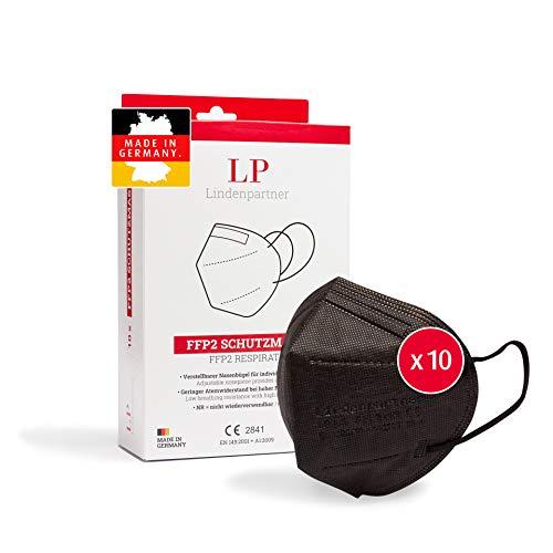 ProPulsan Lindenpartner FFP2 Maske Schwarz 10 Stück, Made in Germany, CE Zertifizierte, Hygienische Atemschutzmaske