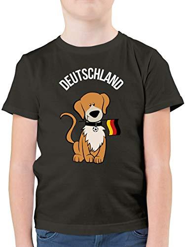 Fußball-Europameisterschaft 2020 Kinder - Fußball Deutschland Hund - 104 (3/4 Jahre) - Anthrazit - F130K - Kinder Tshirts und T-Shirt für Jungen