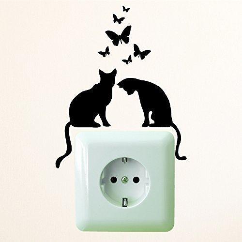 """Wandtattoo-Loft Das ORIGINAL Zwei Katzen mit Schmetterlingen"""" Größe 10 x 12 cm/Aufkleber für Steckdose oder/und Lichtschalter/schwarz/Hergestellt in und Versand aus Deutschland!"""