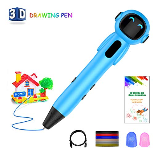 HEHAOYUAN Robot Intelligent 3D Pen Set LED Display USB Charging, One-key Operation, Easy for Kids to Operate, Interesting Gifts for All Age,Blue