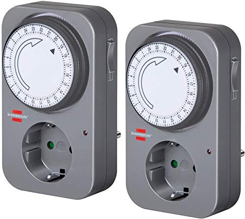 Brennenstuhl Zeitschaltuhr MZ 20, mechanische Timer-Steckdose (Tages-Zeitschaltuhr mit Kindersicherung) Farbe: grau (mechanische Zeitschaltuhr, grau, 2)