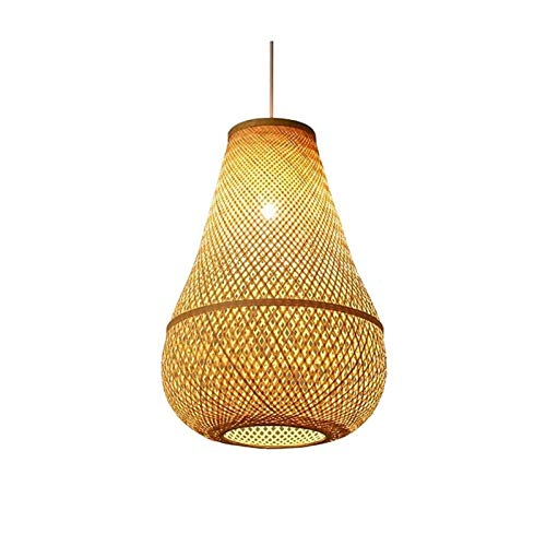 Wlgt Lámpara de araña nórdica de madera de bambú, luz de techo artística simple de estilo japonés, sala de estar, isla de cocina, restaurante, luz colgante, lámpara de techo con forma de gota creativa