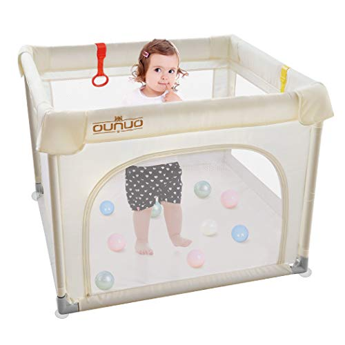 Playpen for Babies, OUNUO Small Portable Baby Playpen Play Yard, Sturdy Safety Baby Fence Play Area with Gate, Anti-Fall Play Pens for Babies and Toddlers, Indoor Outdoor Kids Activity Center