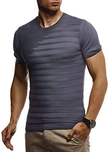 Leif Nelson Herren Sommer T-Shirt Rundhals Ausschnitt Slim Fit aus Feinstrick Cooles Basic Männer T-Shirt Crew Neck Jungen Kurzarmshirt O-Neck Sweater Shirt Kurzarm Lang LN7300 Anthrazit Medium