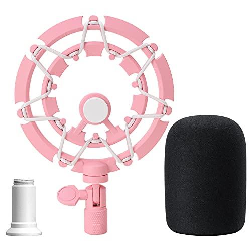 Razer Seiren X Suspension Antichoc avec Bonnette - Shock Mount en Alliage en Rose avec Pare-brise Réduisant la Vibration pour Microphone Razer Seiren X par YOUSHARES