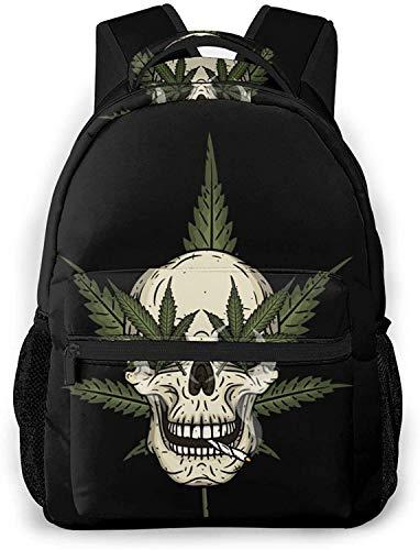 Steampunk skull gear Basic Travel Laptop Backpack Cute School Bag-Skull With Marijuana Leafs