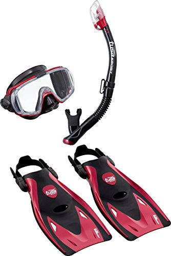 TUSA Schnorchelset Visio Travel - Taucherbrille Tauchmaske Trockenschnorchel Flossen Tasche Erwachsene (L (40-46+), Rot)