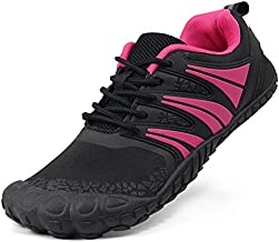 Oranginer Women Wide Toe Box Barefoot Minimalist Five Finger Shoe Hiking Walking Climbing Bodybuilding Weightlifting Powerlifting Trail Running Flat Heel Treadmill Workout Sneaker Black Rose Size 9
