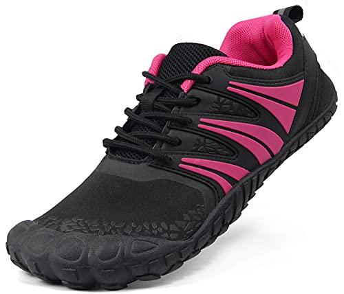 Oranginer Women Wide Toe Box Barefoot Shoe Minimalist Walking Running Cross Training Fitness Gym Yoga Workout Wide Width Sneaker Jumping Cycling Tennis Hiking Five Finger Shoe Black Rose Size 7