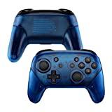 eXtremeRate Transparent Blue Faceplate Backplate Handles for Nintendo Switch Pro Controller, DIY Replacement Grip Housing Shell Cover for Nintendo Switch Pro - Controller NOT Included