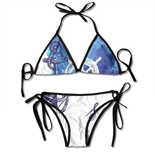 Costumi da bagno Bikini a immersione Nautical Vivid Ocean Back con effetti vernice con rosa dei venti e timone Cruise Sea Image Costume da bagno blu e bianco