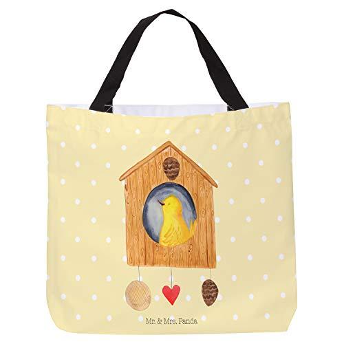 Mr. & Mrs. Panda Groß, Strandtasche, Shopper Vogelhaus - Farbe Gelb Pastell