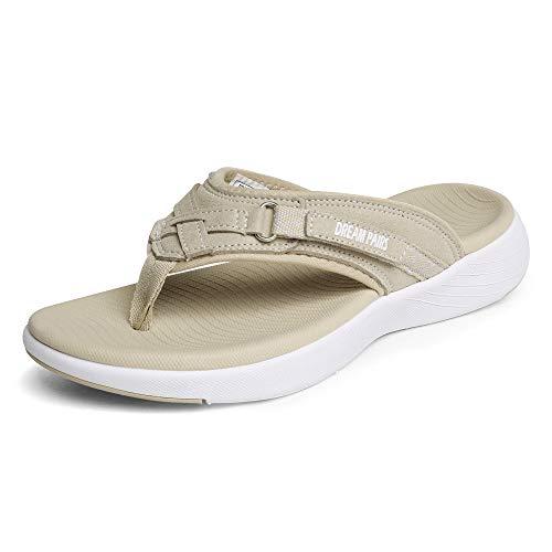 DREAM PAIRS Women's Breeze-1 Arch Support Flip Flops Comfortable Thong Sandals, Beige, Size 7.5