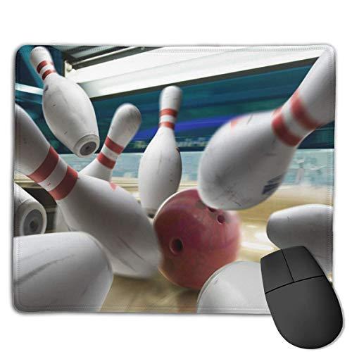 Einzigartiges Mauspad Bowlingkugel und Kegel Rechteck Gummi Mousepad Rutschfestes Gaming-Mauspad