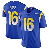 ILHF GOFF # 16Los Angeles RAMS Masculino de Rugby Jersey, fútbol Americano Camiseta de Manga Corta Aficionados Camisa de los Hombres,Azul,L