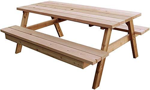 ピクニックテーブル 木製 セット ガーデンテーブルセット 幅180 奥行139 高さ72 おしゃれ ナチュラル パラソル穴付 レッドシダー 無塗装 日本製 (幅180)