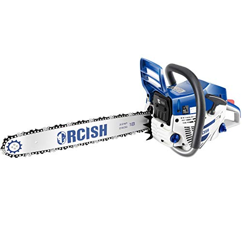 52CC Gas Powered Chainsaw 2-Cycle,18 Inch Cordless Petrol ChainSaw,withTool Kit,for Garden Ranch and Farm(Blue)