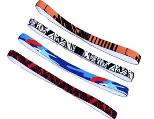 CNFCO 15MM Sports Headbands for Women Men, Elastic Sweat Wicking Non Slip,Sweatbands for Running,Training,Yoga and Bike Helmet,Lightweight Breathable (Orange Black + Black White + Black Red + Blue)