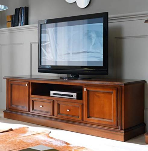 Casa Padrino Biedermeier TV Kommode 200 x 50 x H 61 cm - Sideboard Fernsehschrank Braun Holzfarben Möbel