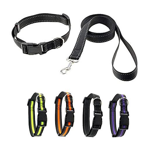 Reflektierende Hundehalsbänder und Leine, weich, bequem, verstellbar, Nylon-Halsbänder mit Kunststoff-Schnellverschluss-Schnalle für kleine, mittelgroße und große Hunde, 1,6 cm, 2,5 cm Breite
